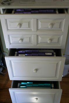 Pretty, hidden file cabinet