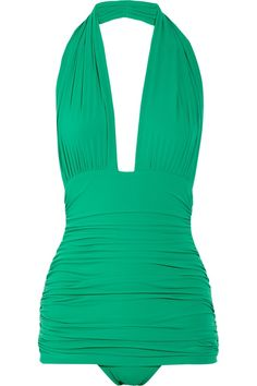 green halter one piece bathing suit. Very Retro!.