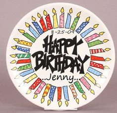 Happy Birthday Plate~FREE personalization!! www.lisasuniquecreations.com