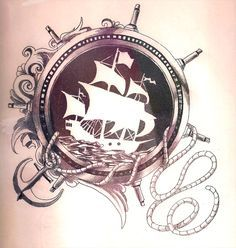 tattoo black white sail ship pirate anchor Anker Seil, Kompass, Schiff, Piratenschiff