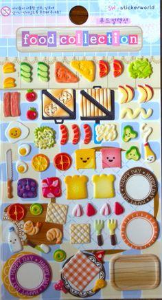 Japanese / Korean Puffy Sticker- Food Collection (Sandwich)