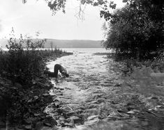 by Alice Austen - In a brook below Hector Falls, Watkins, N.Y. July 25, 1892.
