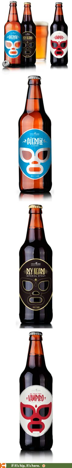 Fabulous Luche Libre inspired beer bottles for Cervecería Sagrada (a mexican Craft Beer) designed by José Guízar Clever Packaging, Food Packaging Design, Beverage Packaging, Bottle Packaging, Branding Design, Craft Beer Labels, Wine Bottle Design, Beer Brands, Beer Brewing