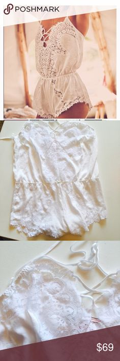 Victoria's Secret white satin romper Sz large 314- new with tags I do collection satin and lace white romper size large Victoria's Secret Intimates & Sleepwear