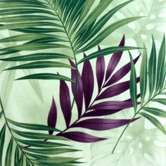 Fabric Tropical Palm Fronds in Mint Green by BluePacificFabrics