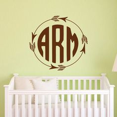 Monogram Wall Decal Personalized Initial Family Wall Decals Art - Monogram wall decals for business