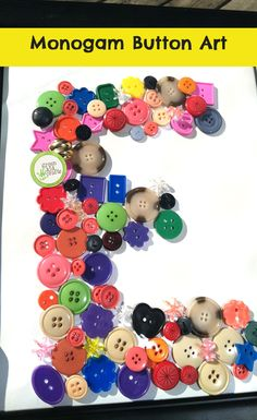 Kids will have a blast separating the button colors and then using them to make this cute Monogram Button Art.  http://www.greenkidcrafts.com/monogram-button-art/