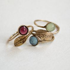 Thin ring, leaf ring, bronze ring, hippie ring, blue quartz ring, gemstone ring, stacking ring, delicate ring - Gone with the wind RC2062