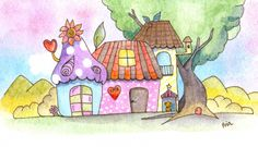 little cute watercolor houses