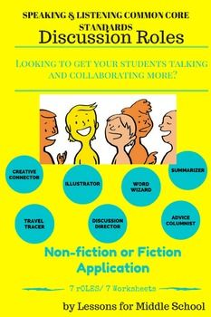 Many teachers find it difficult to address the Speaking & Listening Standards of the Common Core State Standards, but there are very easy techniques to get your students talking, discussing, debating and collaborating.  A simple way is to utilize discussion roles during and after a reading passage.