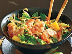 Lime Shrimp Salad with Bean Sprouts and Thai Basil | Boost your palate with tangy flavors and a bit of an herby kick.