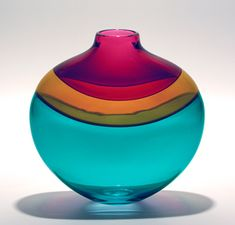 """Flat Banded Vase: Blue""  Art Glass Vase  Created by Michael Trimpol"