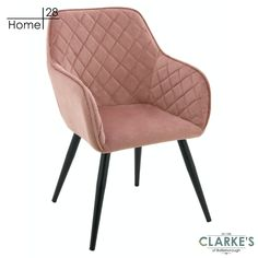 Vienna blush pink dining / accent chair. Available in blush pink and navy, with diamond tufted fabric and tapered black legs, the neat Vienna chair makes a statement without taking up space. Pink Furniture, Velvet Color, Vienna, Blush Pink, Accent Chairs, Legs, Steel, Navy, Dining