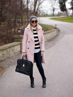 Pale pink // black and white // winter chic // Suburban Faux-Pas
