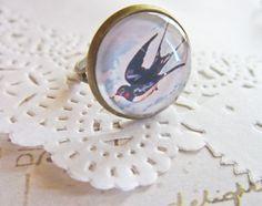 Swallow Cabochon Ring - Rockabilly Vintage Bird. £4.99, via Etsy.
