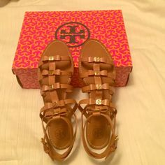 """Tory Burch royal tan Kira flat sandal size 8.5 Brand new Kira Tory Burch gladiator sandals. Only a tiny scuff on the bottom of left sandal (pictured) made from trying on in store. Never worn outside. Size 8.5, color is """"royal tan."""" Tory Burch Shoes Sandals"""