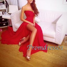 Sexy red prom dress, strapless ball gown 2016, Modest chiffon side slit long formal party dress for teens www.promdress01.c... #promdress #coniefox #2016prom