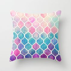 Rainbow Pastel Watercolor Moroccan Pattern Throw Pillow by Micklyn - $20.00