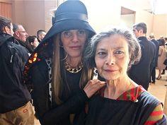 Vogue Japan's Anna dello Russo wearing Balenciaga and journalist Renata Molho. backstage Marni fall 2012