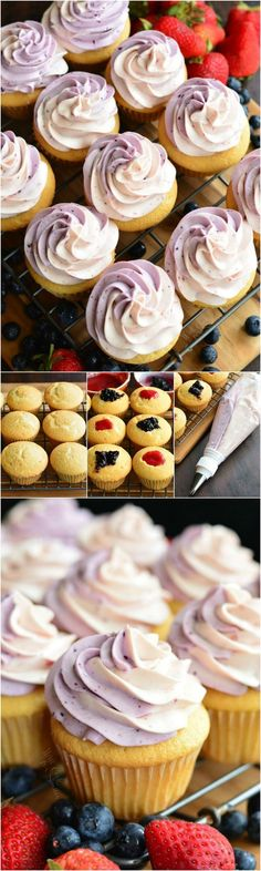 Berry Filled Cupcakes with Strawberry and Blueberry Marble Frosting. These cupcakes are stuffed with an easy strawberry and blueberry filling and topped with strawberry and blueberry swirled cream cheese frosting.
