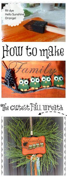 DIY Fall Wreath -- How to make a cute #Fall #wreath with Rit dye | Fall DIY Idea by http://debbie-debbiedoos.com/