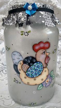 Pote de vidro com decoupage e pintura                                                                                                                                                     Mais