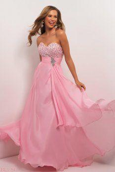 Una línea de longitud del piso de color rosa cariño vestidos de fiesta
