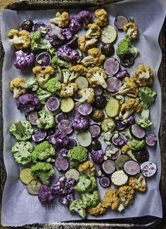 A festive side dish - Rainbow Cauliflower and Potatoes in Mardi Gras colors!