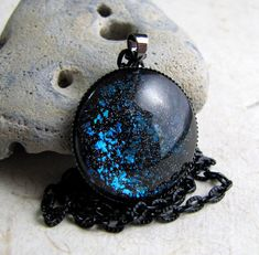 Aqua Black Sparkle Necklace Galaxy Necklace by AshleySpatula, $18.00