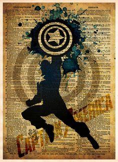 Avengers, Captain America, Vintage Silhouette print, Super Hero Art, Dictionary print art