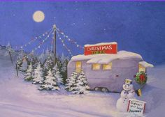 tree lot with vintage trailer  This would be cute to do in gingerbread!!
