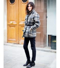 @Who What Wear - There's a reason Alt sticks with her trusty braided belt: the woven leather allows for a hole to be made anywhere, making it easy to customize the fit, no matter the thickness of the jacket.  Image courtesy of Style Du Monde