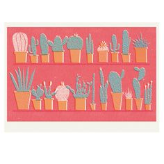 LOOOOOOVE. GIMME THE PRICKLY: This contemporary fine art risograph print is an original drawing of cacti and cactus by Louise Lockhart, A4 size, printed in the UK on eco-friendly recycled paper