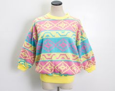 VTG 90's Bright Abstract Geo Cropped Sweater (Medium) Yellow Pink Blue Knit Three Quarter Sleeves Geometric Stripes Slouchy Vintage Sweater