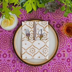 Gatsby Gold and White Block Print Napkin Set - Casa Verde