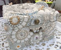 Romantic white mosaic Box by Waschbear - Frances Green, via Flickr