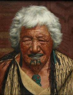 The Charles Goldie painting of Kapi Kapi, an Arawa chieftainess. New Zealand Tattoo, New Zealand Art, Visit New Zealand, New Zealand Travel, Irezumi Tattoos, Tattoos Skull, Key Tattoos, Foot Tattoos, Sleeve Tattoos