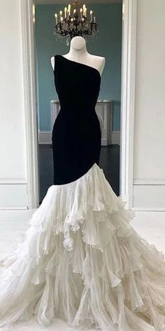 One Shoulder Black Jersey Top Ivory Chiffon Prom Dresses Cheap Prom Dresses Mermaid Prom Dresses, Cheap Prom Dresses, Day Dresses, Prom Gowns, Long Dresses, Elegant Dresses, Pretty Dresses, Beautiful Dresses, Wedding Dress Chiffon