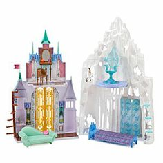 Disney Frozen 2-in-1 Castle and Ice Palace Playset by Mattel   Disney StoreFrozen 2-in-1 Castle and Ice Palace Playset by Mattel - Double the fun with two spectacular doll homes in one playset; Anna's Castle and Elsa's Ice Palace! She'll love all the movie-inspired furniture and props, including a throne, bed, chaise, vanities, mountain slide, and Olaf figure!