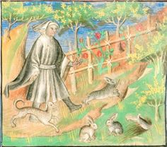 15th century (1416) France  Stuttgart, Württembergische Landesbibliothek  Cod. poet. et phil. 2º 6: (i.a.) Roman de la Rose  fol. 1r - the Lover, accompanied by a dog and four rabbits, in a garden  http://romandelarose.org/#book;CodPoetPhil6