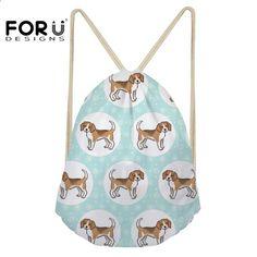 FORUDESIGNS Borsa sportiva per bambini Fitness Borse donna cordoncini  Beagles Pet Dog Print Training Yoga Softback 3e6ad549abb