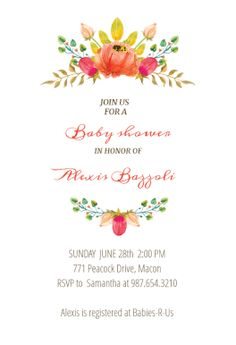 Flowers Crown - Free Printable Baby Shower Invitation Template | Greetings Island