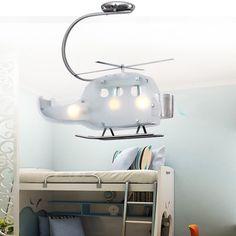 现代儿童吊灯卡通儿童房灯创意直升飞机玻璃小孩房间卧室灯具
