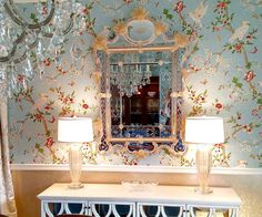 Gorgeous dining room with stunning Venetian glass mirror and Venetian glass lamps; interior design by Pia's Decorating
