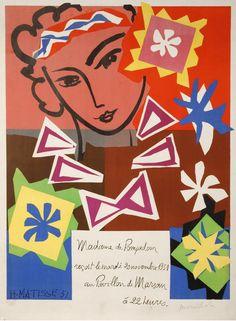 """¤ Poster by Henri Matisse (1869-1954), 1951, """"Mme de Pompadour"""" for the Bal de l'Ecole des Arts Décoratifs, Atelier Mourlot."""