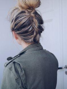 Upside-down braid to bun