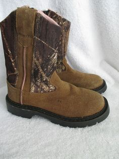 Girls Camo Boots 13 Pink & Mossy Oak Size 13 Hunt Fish Camp Outdoors
