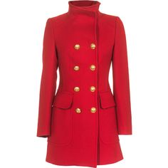 Dondup Phyllis Red Feminine military coat ($310) ❤ liked on Polyvore featuring outerwear, coats, jackets, coats & jackets, military coat, red military coat, field coat, dondup and red coat