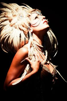 Cream Feather and Fur Headdress by Wickedheart on Etsy, $325.00