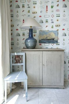 La Mer Mural (2200118) - Paper Moon Wallpapers - This wall mural has a white stripe on pale blue and is covered with motifs depicting the sea and travel. Mural size: 139.5 wide by 270cm high. Paste the wall.  As this is a special order product, it may take 7-10 working days.